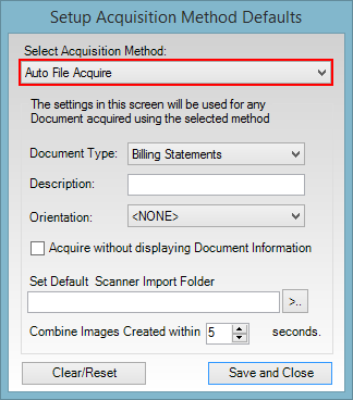 Figure 4. Automatically upload files directly to the Document Center with the new Auto File Acquire option.