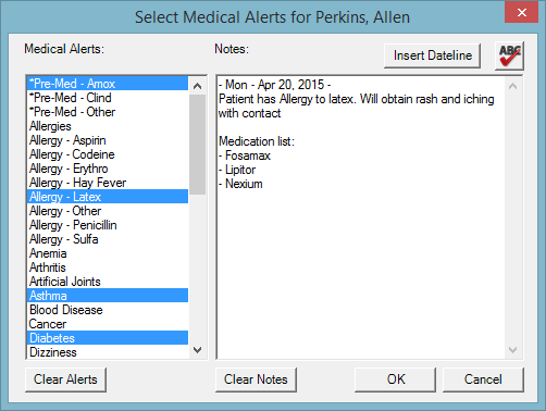 Figure 7. You can record and track more detailed medical alert notes for patients.
